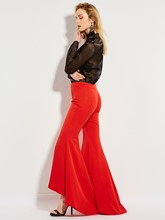 Red High-Waist Full Length Women's Bellbottoms