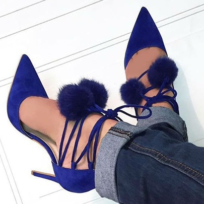 Pom Pom Cute Pointed Toe Stiletto Heels