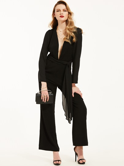 Black Lace-Up Full Length Slim Women's Jumpsuit