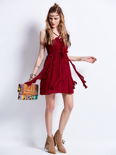 Burgundy Strappy Tiered Women's Day Dress