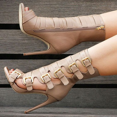 Stylish Buckled Cage Open Toe Fashion Booties