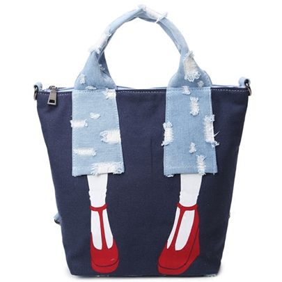 Vertical Section Barrel-Shaped Canvas Tote Bag