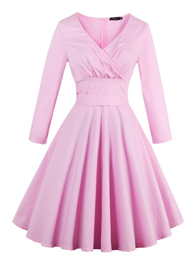Pink Back Knot Women's Long Sleeve Dress