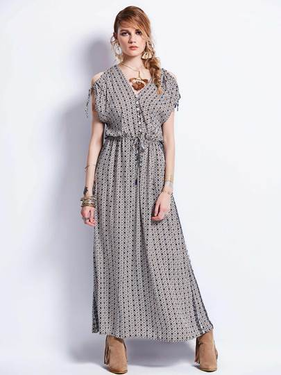 Coffee Cold Shoulder Women's Maxi Dress