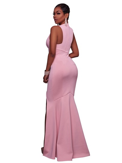 Pink V Neck Split Women's Maxi Dress