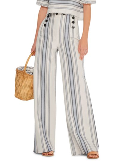 Stripe Color Block Button Full Length Loose Women's Pants