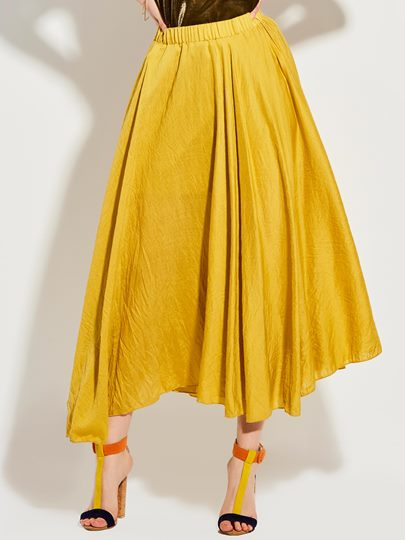 Mid-Waist Ankle-Length Plain Expansion Skirt