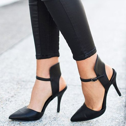 Simply Black Ankle Wrap Pointed Stiletto Pumps