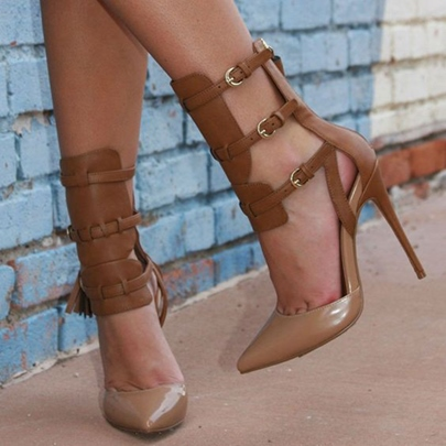 Tassel Cage Brown Ankle Booties