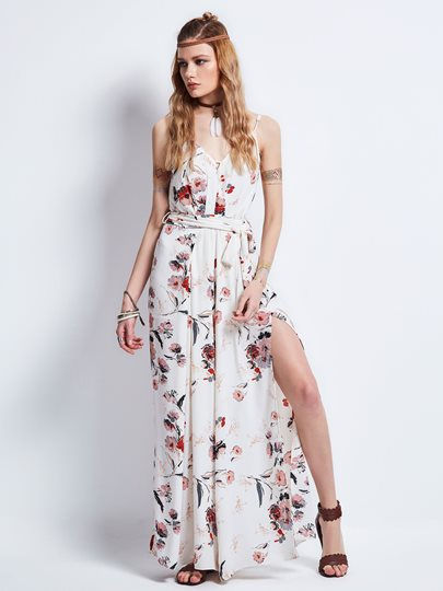 White Floral Printed Split Women's Maxi Dress
