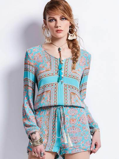 Loose Button Geometric Pattern Jumpsuit