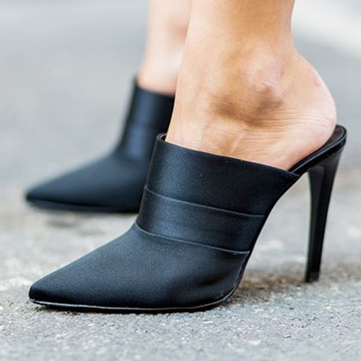 Black Pointed Toe Women's Mules Shoes