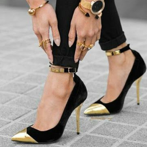 Metal Cap Toe Black Stiletto Heels Metallic Shoes