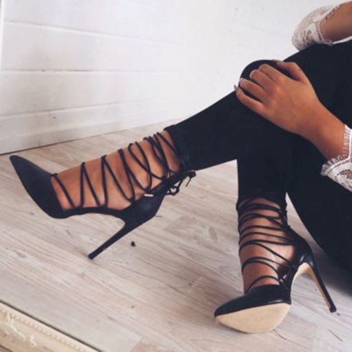 Lace Up Black Stiletto Heels
