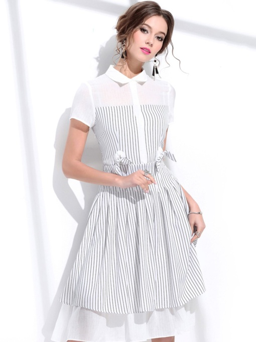 Bowknot Lapel Stripe Women's Day Dress