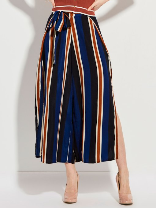 Stripe Color Block Wide Legs Women's Pants