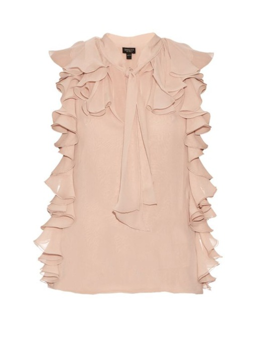 Frill Tie Neck Plain Women's Blouse