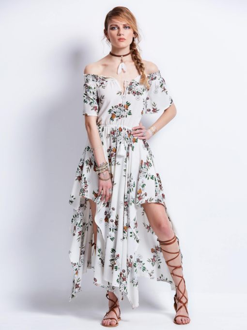 Slash Neck Flower Print Women's Maxi Dress