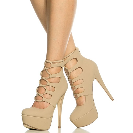 Cross Strap Closed Toe Platform Heels