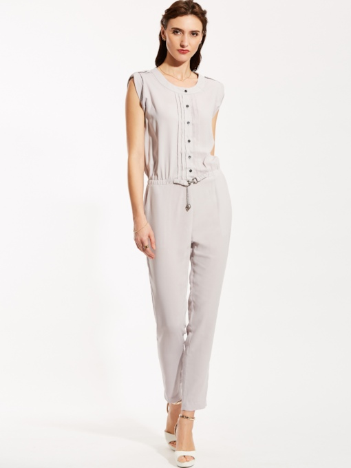 Plain Single-Breasted Pocket Full Length Patchwork Women's Jumpsuit