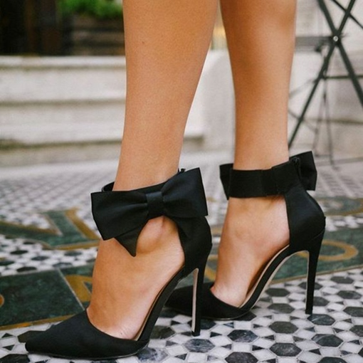 Pointed Black Side Bow Stiletto Pumps