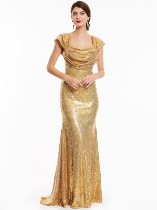 Straps Zipper-Up Sequins Sheath Evening Dress