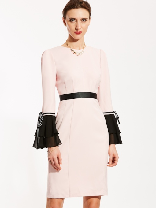 Lace-Up Elegant Color Block Bell Sleeve Women's Bodycon Dress