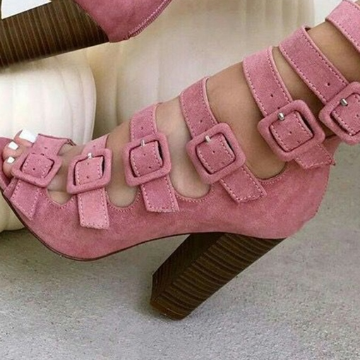 Pink Buckled Peep Toe Chunky Heel Sandals