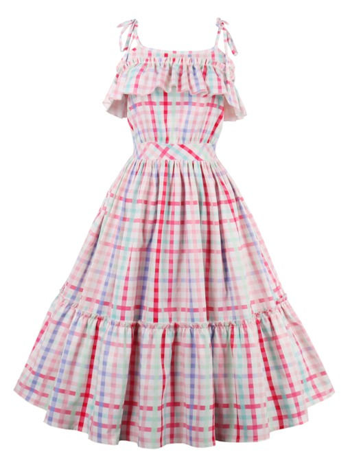 Plaid Falbala Women's Day Dress