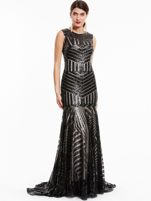 Scoop Neck Zipper-Up Sequins Mermaid Evening Dress