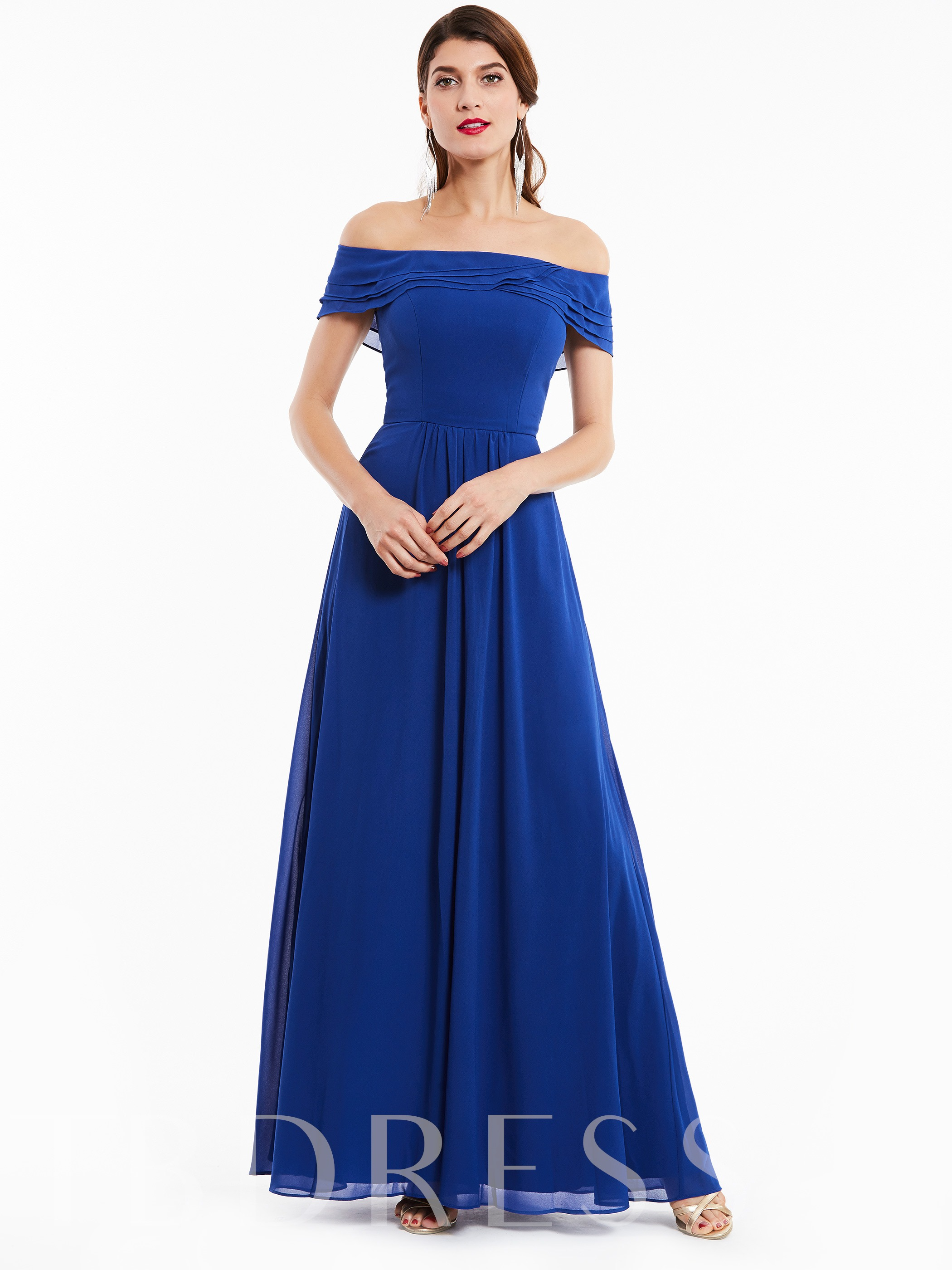 Image of A-Line Ruffles Off-the-Shoulder Evening Dress