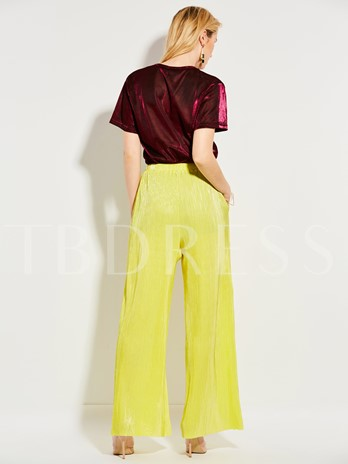 Solid Color High-Waist Pleated Wide Legs Women's Pants