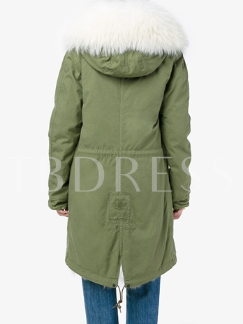 Flocking Hooded Drawsting Waist Women's Jacket