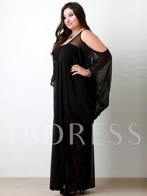 Batwing Sleeve Pencil Scoop Hollow Mesh Women's Maxi Dress