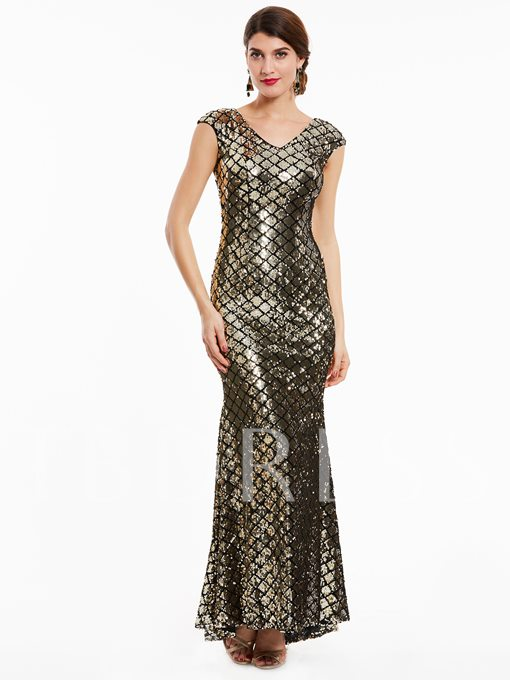 V-Neck Sheath Zipper-Up Sequins Mermaid Evening Dress