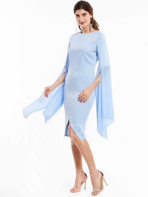 Flare Sleeve Asymmetrical Plain Women's Bodycon Dress