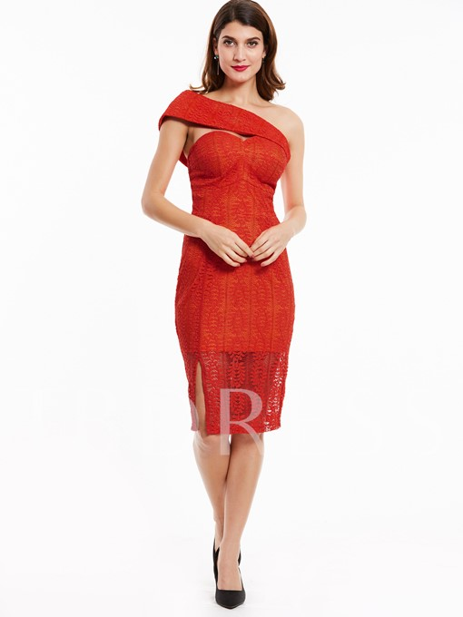 Hollow See-Through Oblique Collar Lace Women's Sheath Dress
