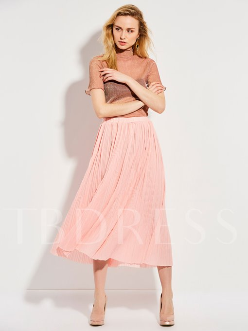 Pink Pleated Elastic High-Waist Women's Skirt