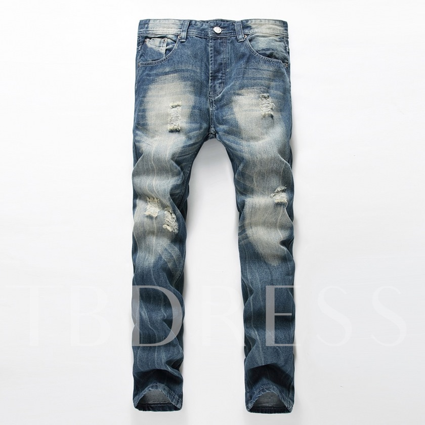 Men's Jeans with Hole Zipper