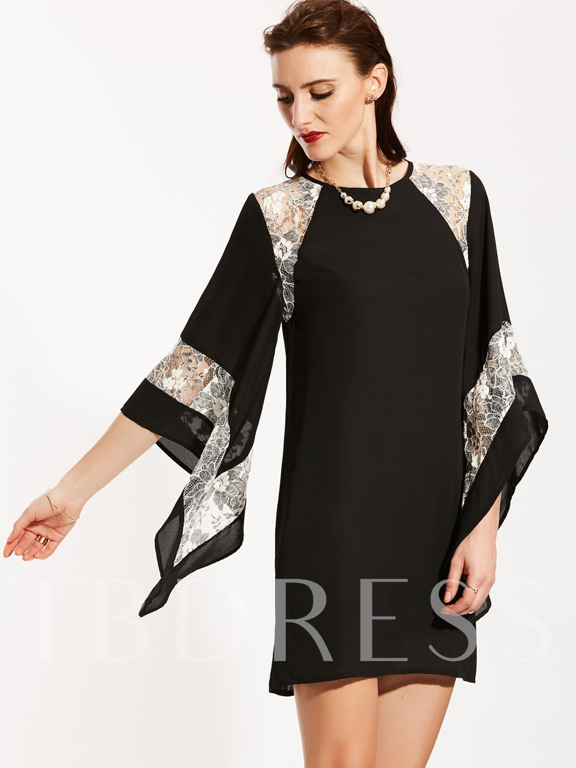 Lace Batwing Sleeve Straight Plain Women's Day Dress
