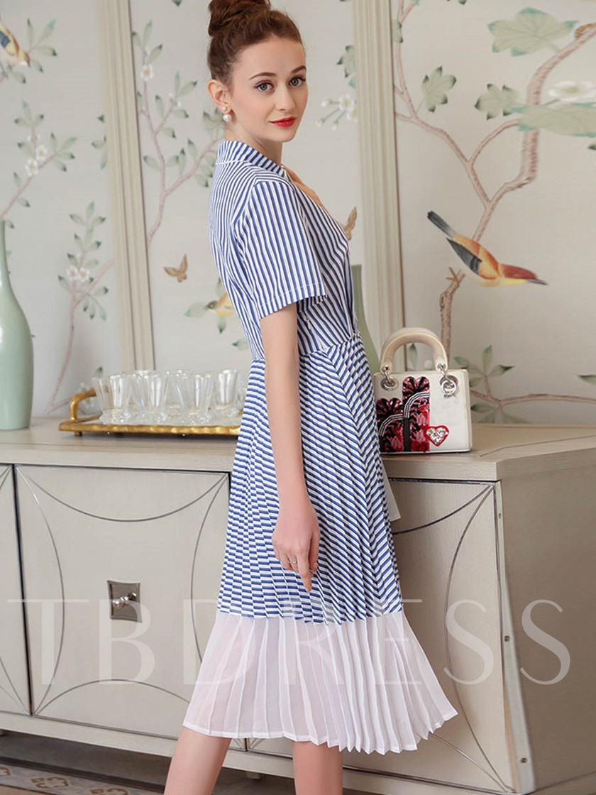 Pleated Embroidery Button Letter Women's Maxi Dress