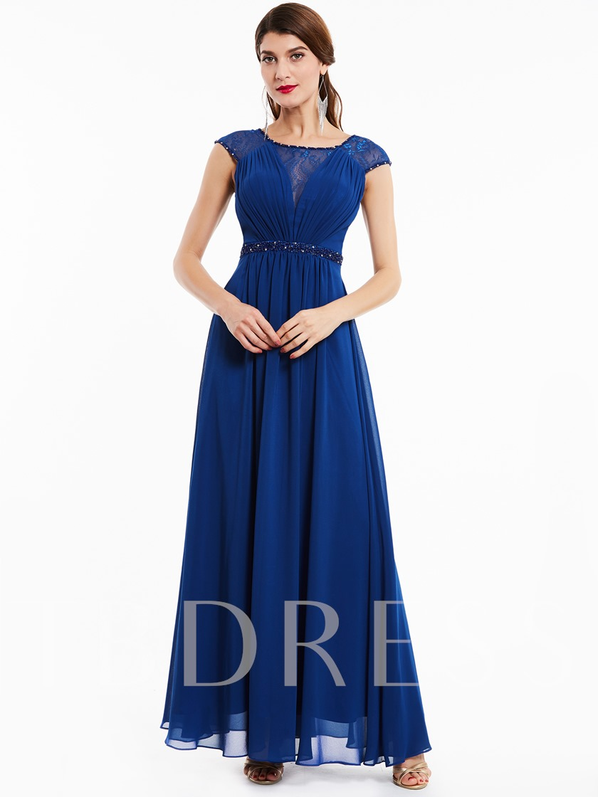 Scoop Neck Beaded A Line Evening Dress
