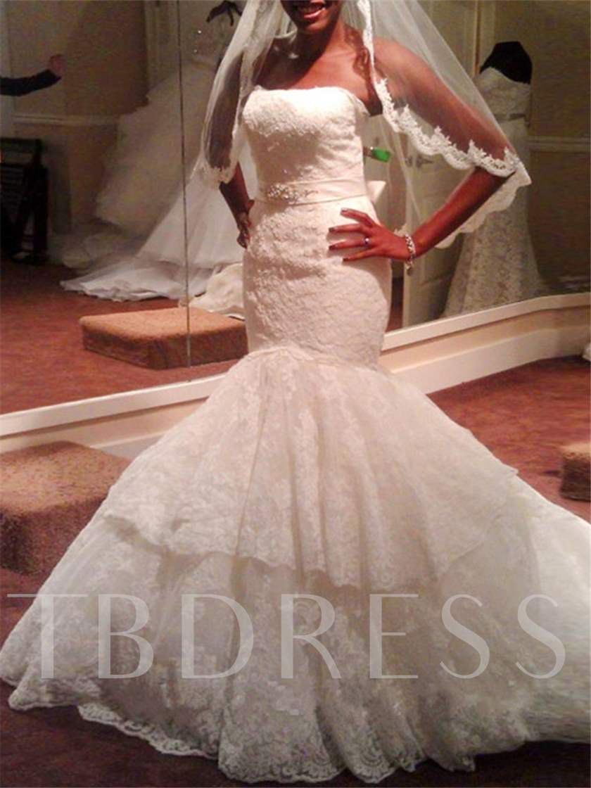 Strapless Tiered Appliques Mermaid Wedding Dress