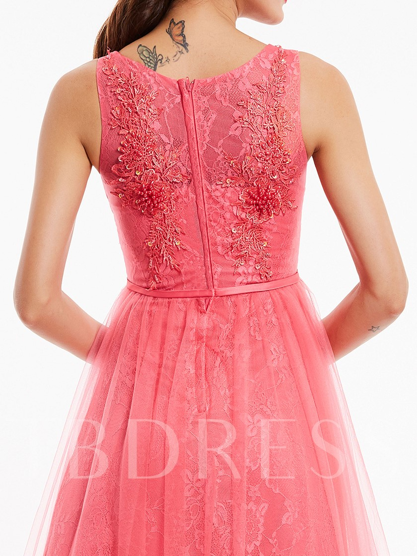 Beading A-Line Sashes Scoop Appliques Lace Evening Dress
