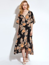 Vacation Half Sleeve Chiffon Lace up Women's Maxi Dress