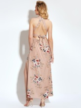 Khaki Split Backless Vacation Women's Maxi Dress