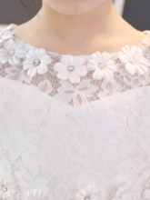 Lace Asymmetrical Girl Party Dress with Long Sleeves