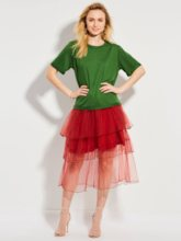 Mid-Calf Mesh Patchwork Layered Skirt