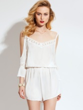 Plain Lace Hollow High-Waist Patchwork Women's Jumpsuit