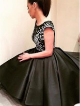 Appliques Cap Sleeves High Low Black Prom Dress